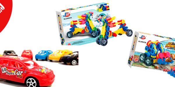 Výprodej hraček: set autíček, 3D stavebnice kolo nebo buldozer.