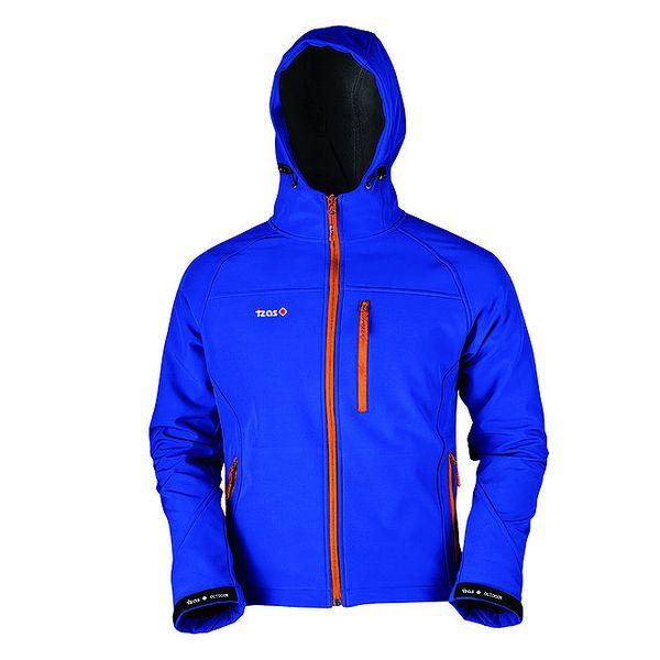 Pánská modrá softshellová bunda s oranžovým zipem Izas