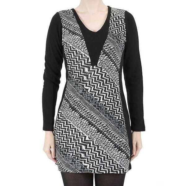 Dámské šaty s černo-bílým vzorem a véčkovým výstřihem Ginger and Soul