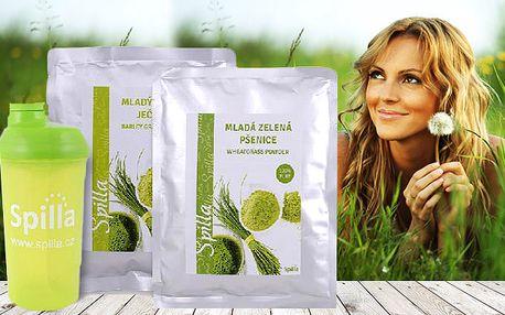Zelená mladá pšenice + Zelený mladý ječmen + Shaker Spilla ZDARMA s doručením zdarma