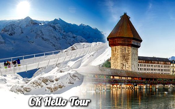 Trhy v historickém Luzernu a visutý most na Titlis