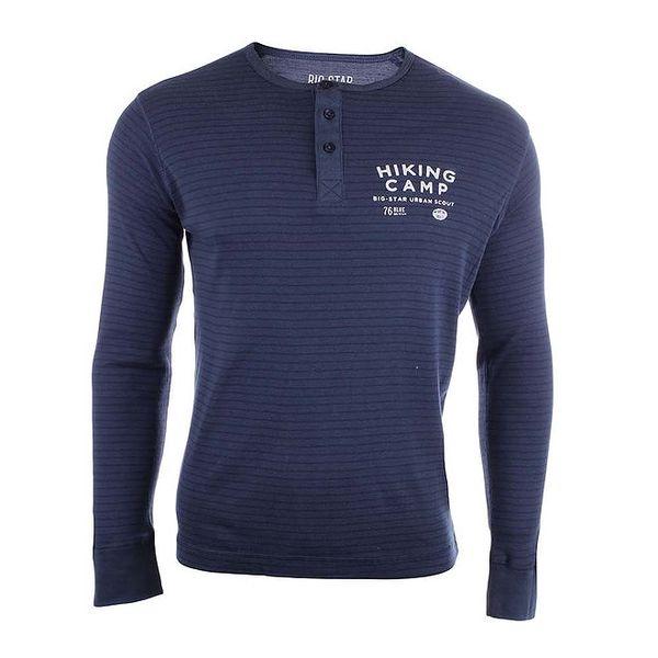 Pánské modré pruhované tričko s knoflíky Big Star