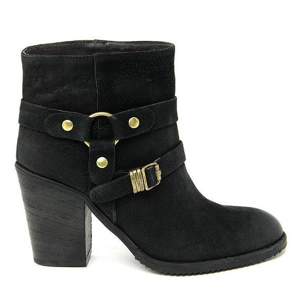 Dámské černé kožené kotníkové boty s přezkami Paola Ferri