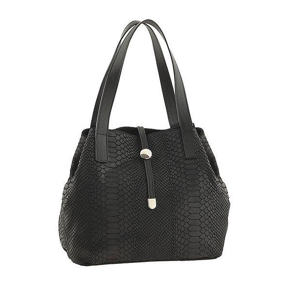 Dámská černá kožená kabelka se vzorem Classe regina