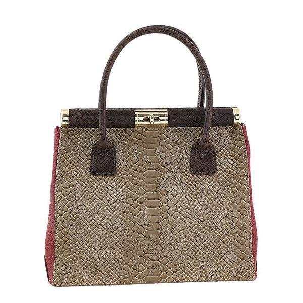 Dámská hnědo-vínová kožená kabelka na zámeček s krokodýlím vzorem Classe Regina
