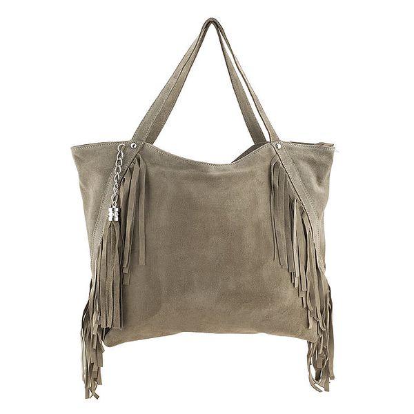Dámská béžová kožená kabelka s třásněmi a řetízkem Class Regina