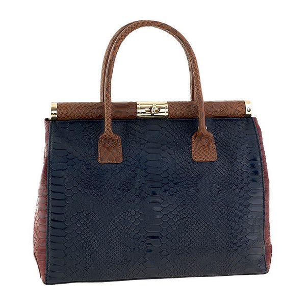 Dámská modro-vínovo-medová kožená kabelka na zámeček s krokodýlím vzorem Classe Regina