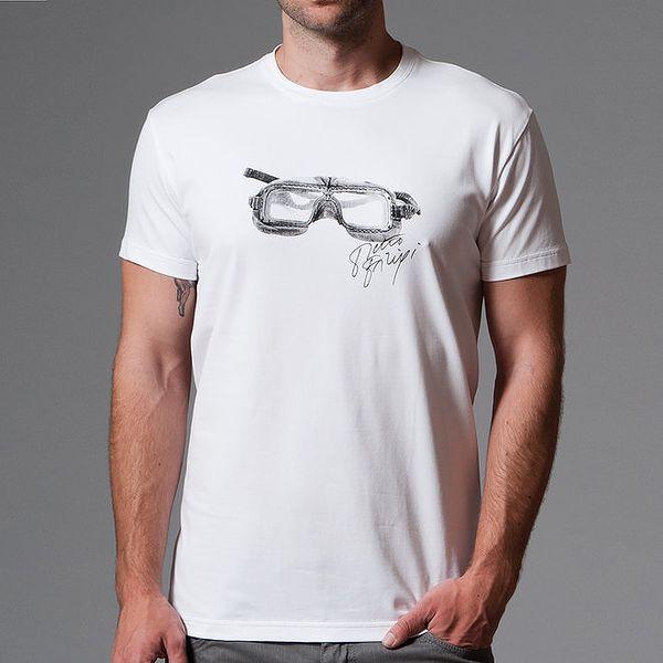 Pánské bílé tričko s potiskem brýlí Pietro Filipi