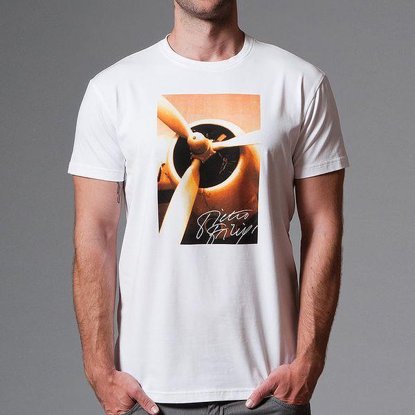 Pánské bílé tričko s krátkým rukávem a barevným potiskem Pietro Filipi