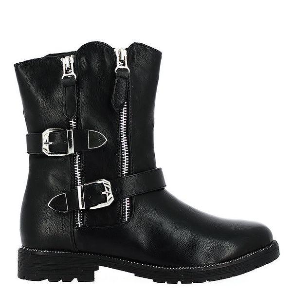 Dámské černé kotníkové boty se stříbrnými přezkami Shoes and the City