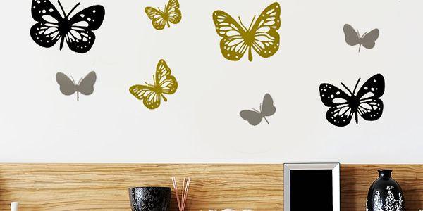 Samolepka na stěnu Barevní motýlci, 60x90 cm