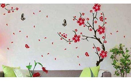 Samolepky červených květin na zeď!