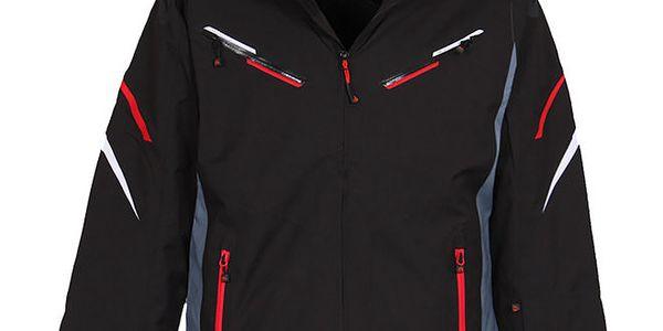 Pánská černá lyžařská bunda s membránou a červenými prvky Bergson