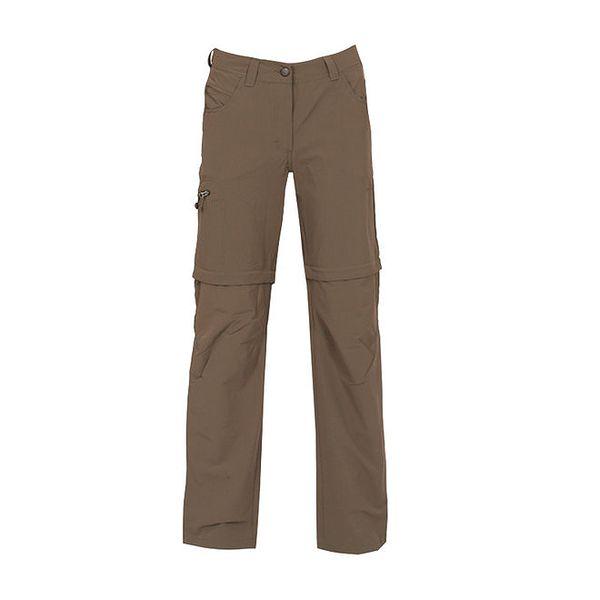 Dámské šedohnědé kalhoty se zipy na nohavicích Bergson