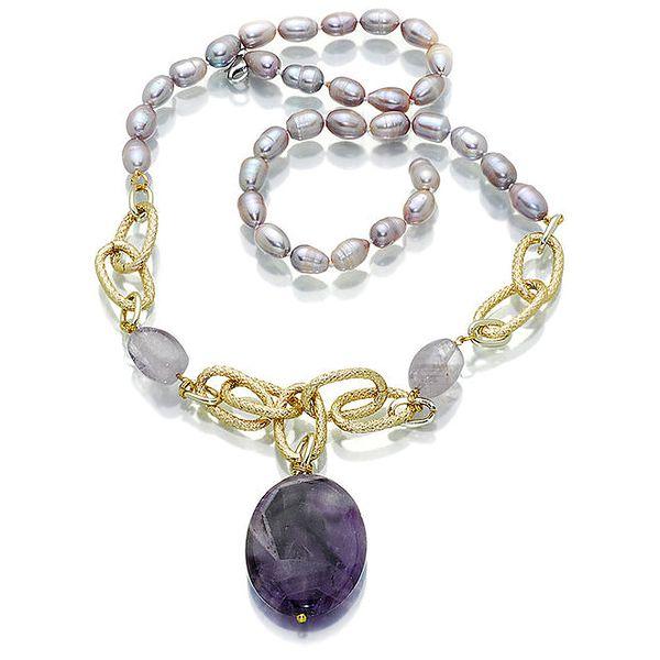 Dámský perlový náhrdelník Orchira s ametystem