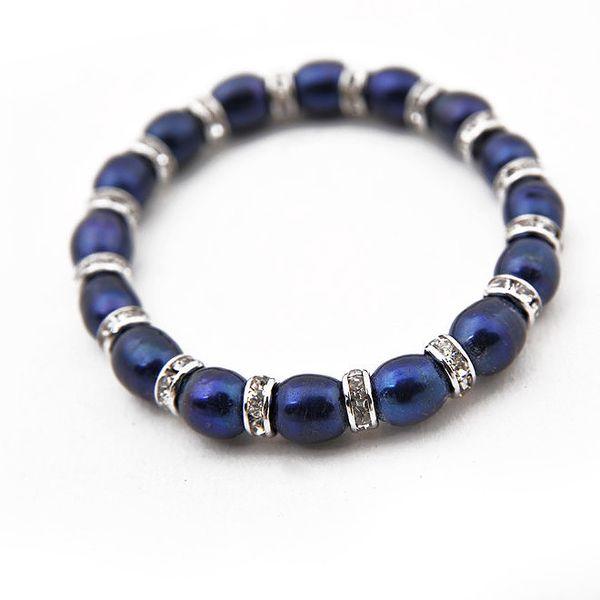 Dámský tmavě modrý perlový náramek Orchira