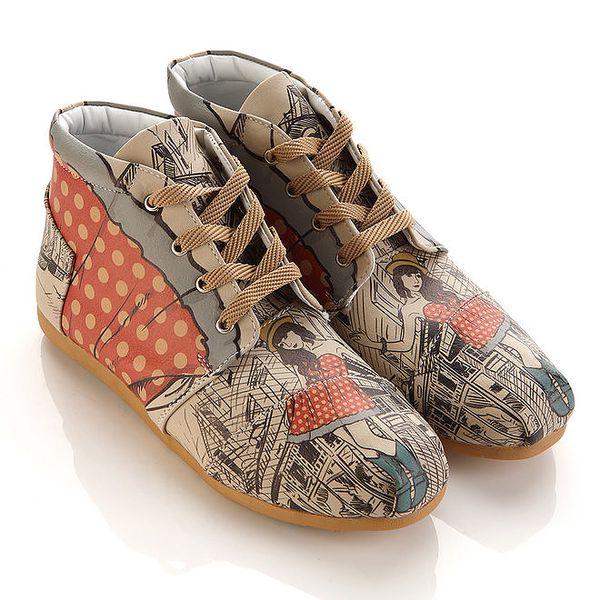 Dámské kotníkové boty s puntíky a dívkou Elite Goby