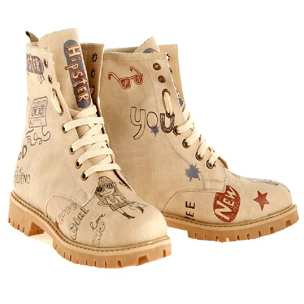 Dámské kotníkové šněrovací boty s hipsterským potiskem Elite Goby