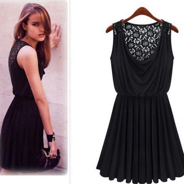 Elegantní černé šaty s krajkou!