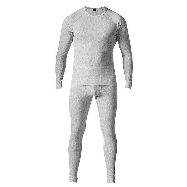 Pánský světle šedý set spodního prádla - tričko a kalhoty Bergson
