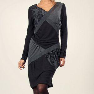 Dámské šedo-černé šaty s překříženým efektem Angels Never Die