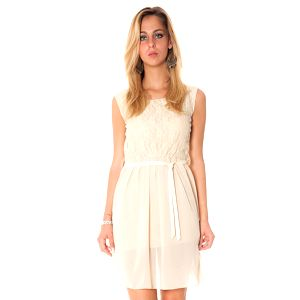 Dámské béžové šaty s mašlí Bella Rosa