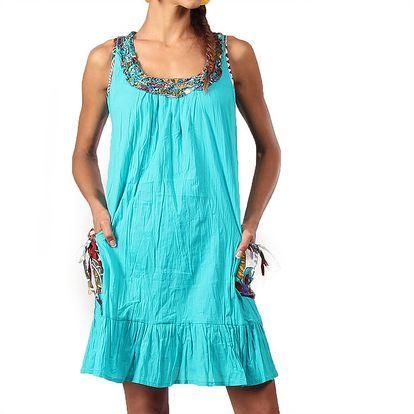 Dámské krátké tyrkysové šaty s ozdobným výstřihem Aller Simplement