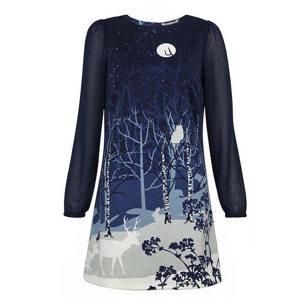Dámské modré šaty s motivem noční krajiny Yumi