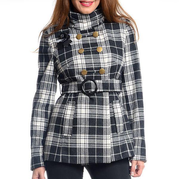 Dámský černo-bílý krátký kabát s kostkovaným vzorem Vera Ravenna