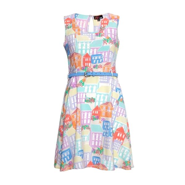 Dámské barevné šaty s domečky Yumi