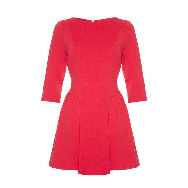 Dámské červené šaty s dlouhými rukávy Yumi