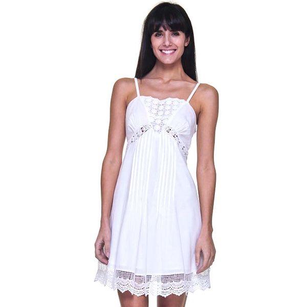 Dámské bílé romantické šaty s bavlněnou krajkou Kool