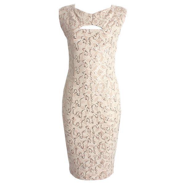 Dámské béžové šaty s průstřihem CeMe London
