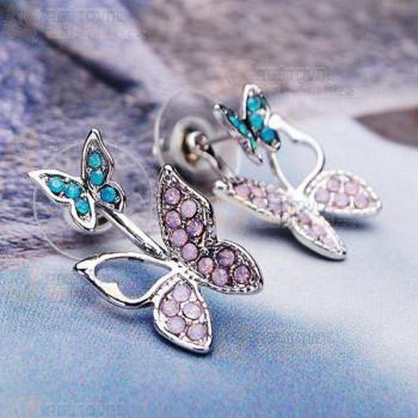 Motýlkové náušnice s barevnými kamínky a poštovné ZDARMA! - 31714250