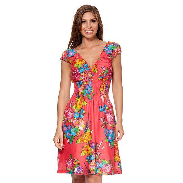 Dámské korálové šaty s květinovým potiskem Kool