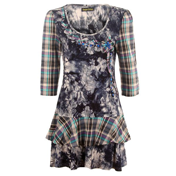 Dámské vzorované šaty s kostkovanými rukávy Sugar Crisp