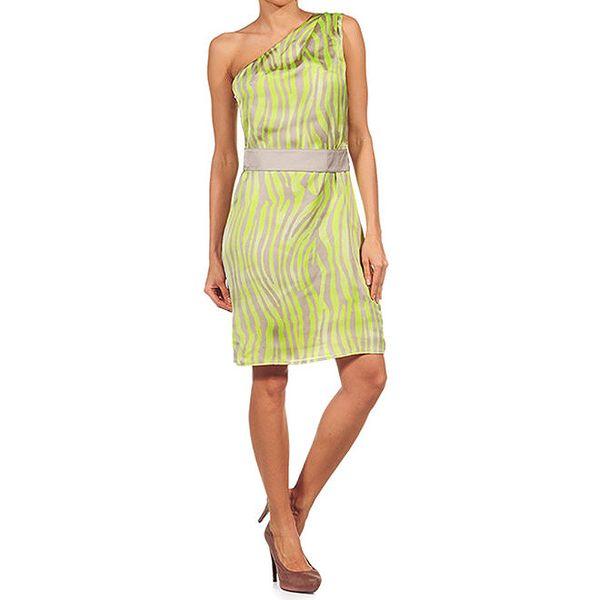 Dámské zebří neonové šaty se spadlým ramenem Guess by Marciano