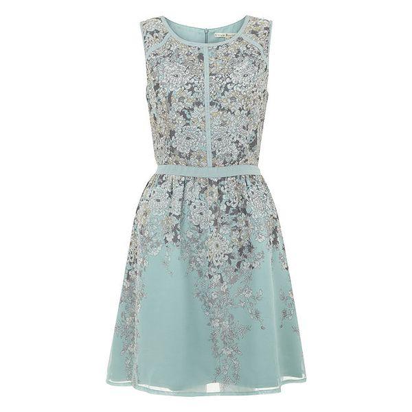 Dámské modré šaty s kvítky Uttam Boutique