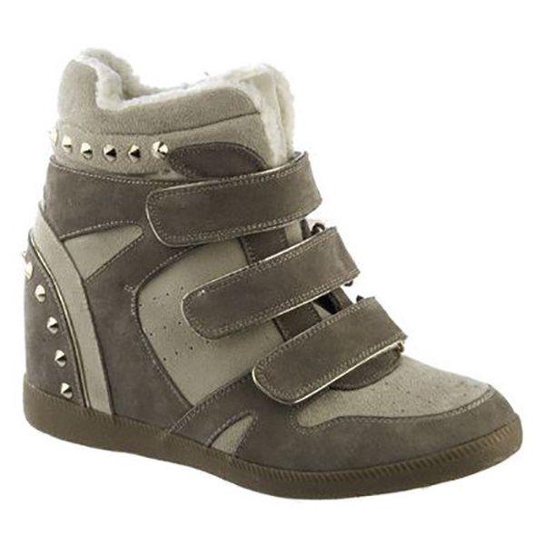 Dámské béžovo-šedé boty s pásky a cvočky Keddo