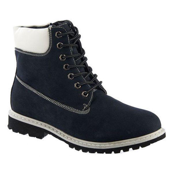 Dámské tmavě modré kotníkové boty s bílými prvky Keddo