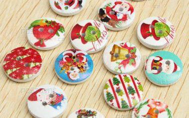 Vánoční knoflíky v různých motivech - 100 kusů a poštovné ZDARMA! - 30714232