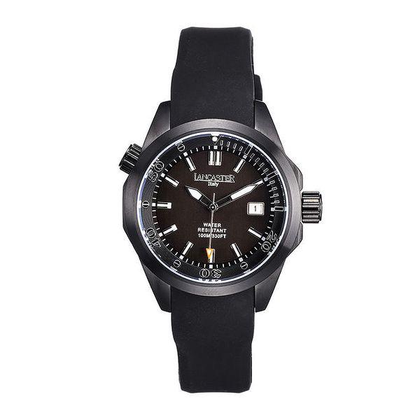 Dámské černé hodinky s datumovkou Lancaster