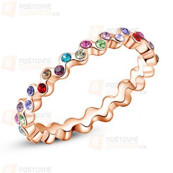 Moderní prstýnek s barevnými kamínky a poštovné ZDARMA! - 30514075
