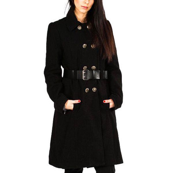 Dámský černý kabát s knoflíkovým zapínáním Gémo