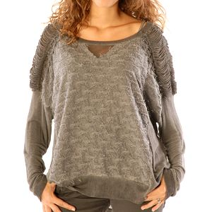 Dámský šedý svetřík s topem Silvana Cirri
