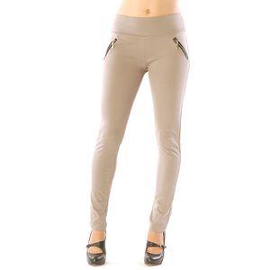 Dámské béžové kalhoty se zlatými zipy Silvana Cirri
