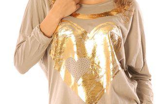 Dámské béžové tričko se zlatým srdíčkem Silvana Cirri