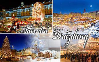 Prožijte kouzelnou atmosféru ADVENTNÍCH DRÁŽĎAN! Vyrazte na jednodenní zájezd na nejkrásnější vánoční trhy v Německu, zahřejte se svařeným vínem, obejděte památky a nakupte vánoční dárky! Odjezd z Prahy 5. nebo 6. 12., kdy probíhá proslulý festival štol!!