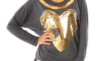 Dámské tmavě modré tričko se zlatým srdíčkem Silvana Cirri