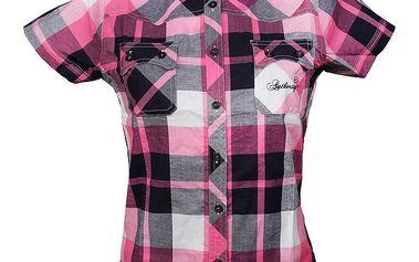 Dámská růžově kostkovaná košile s krátkým rukávem Authority
